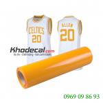 Decal ép nhiệt áo thun màu vàng chanh chất liệu PVC giao hàng tại TP HCM